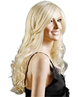 Discoball High Quality Womens Light Blonde Fashion Natural Full Curl Wig Cosplay Party