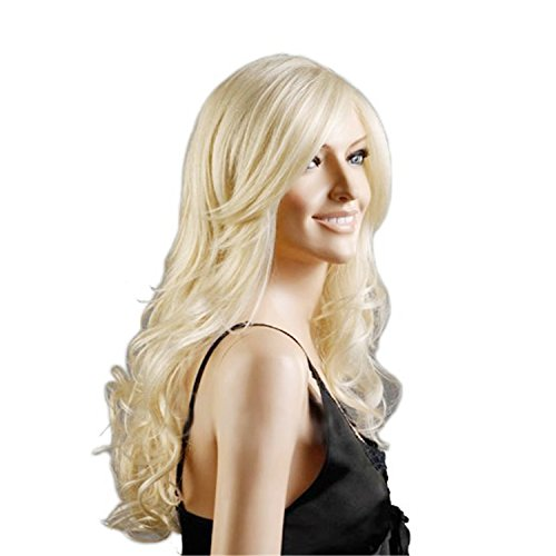Lange Aus Menschlichen Haar Perücke (Discoball High Quality Women's Light Blonde Fashion Natural Full Curl Wig Cosplay Party)