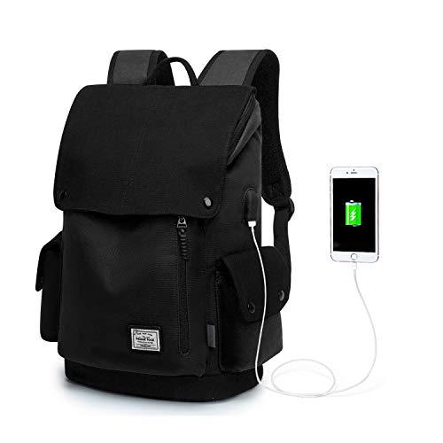 Wind Took Canvas Backpack Daypack 15 Zoll Laptop Rucksack Schulrucksack Tagesrucksack mit USB Anschluss für Uni Büro Alltag Freizeit, Schwarz