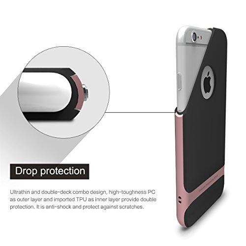 ROCK Royce Custodia iPhone 6/6s,[Ultra sottile][Antiscivolo][Netted][Apple Logo]Telefono Caso Realizzato in PC + Soft TPU Protezione a Tutto Tondo per Apple iPhone 6/6s(4,7 inch) - Oro rosa Oro Rosa