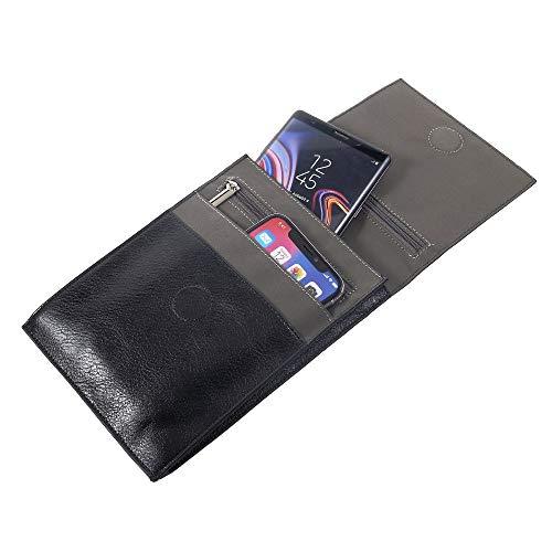 DFV mobile - Etui Kunstleder Tasche Schultertasche für Tablet und Smartphone mit Magnetverschluss und Reißverschlüssen für => DOOGEE S30 > Schwarz