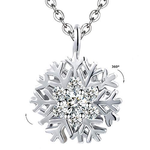 Veecans collana donna argento s925 con ruotabile pendente fiocco di neve realizzato con zircone swarovski, luxury collection regalo per natale, prolunga 40+5cm (bianco)