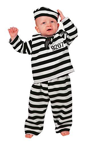 Sträfling Kleinkind Kostüm - Sträflings-Kostüm Kleinkinder Jungen weiß schwarz gestreift 3-teiligGauner Ganove Karneval Fasching Hochwertige Verkleidung Fastnacht Größe 74 Schwarz/Weiß