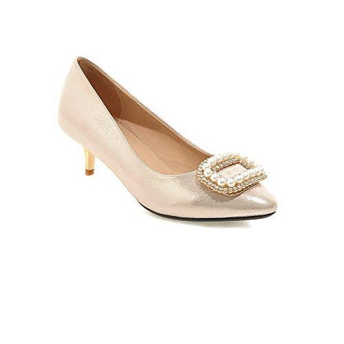AgooLar Damen Spitz Zehe Mittler Absatz Lackleder Eingelegt Ziehen Auf Pumps Schuhe Golden