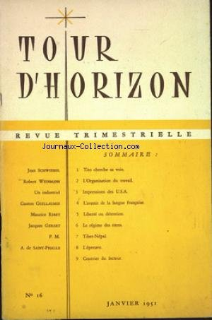 TOUR D'HORIZON [No 16] du 01/01/1951