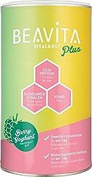 BEAVITA Vitalkost Plus - 572g Himbeer Joghurt Pulver - Diät Shake für unbeschwertes Abnehmen - bis zu 10 Drinks - Kalorien sparen & Gewicht reduzieren - vitaminreicher Mahlzeitersatz inkl. Diätplan