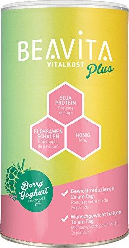 BEAVITA Vitalkost Plus - Himbeer-Joghurt Pulver 572g - Diät-Shake für unbeschwertes Abnehmen - reicht für 10 Shakes/Mahlzeiten - Kalorien sparen & Gewicht reduzieren mit dem 14 Tage-Diätplan inkl.