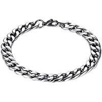 ZHJBD Fine jewelry/Men Bracelet Stainless Steel Leather Rope Bracelet (Color : 17cm)
