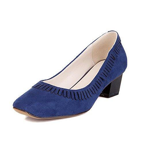 AllhqFashion Damen Nubukleder Mittler Absatz Quadratisch Zehe Rein Ziehen Auf Pumps Schuhe Blau