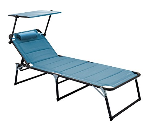 Meerweh Chaise Longue XXL en Aluminium avec Toit 200 x 70 x 37.5 cm Bleu