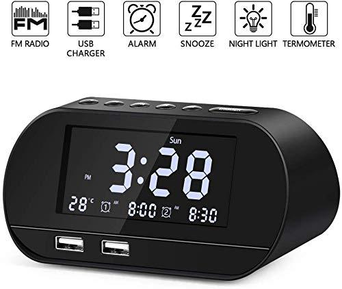 Radiowecker, FM Radiowecker Funkuhr Digital mit Zwei USB Ladeanschlüssen, Nakeey Digitaler Wecker,Reisewecker, Dual-Alarm,6 Helligkeit,7 Alarmtöne mit 16 Lautstärke für Schlafzimmer,Kind,Büro