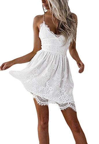 Vestiti donna estivi eleganti vestito in pizzo cerimonia linea ad a a pieghe vintage abito da sera senza schienale v scollo abiti bianco vestitini festa banchetto sundresses