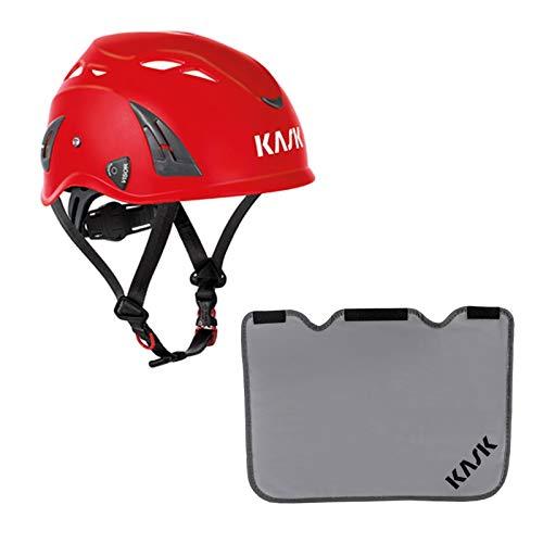 KASK Schutzhelm, Bergsteigerhelm, Industriekletterhelm Plasma AQ - Arbeitsschutzhelm, Drehrad + Nackenschutz grau mit BG Bau Förderung, Farbe:rot