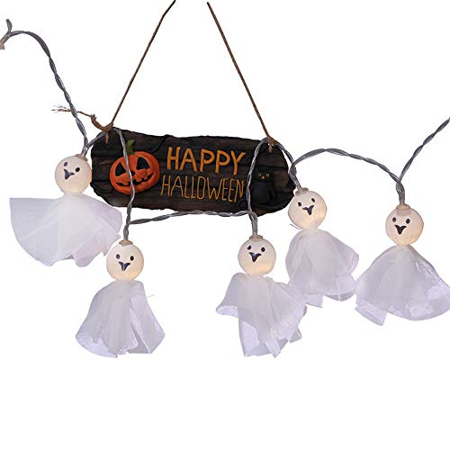 Fulltime E-Gadget Energiesparend Die Geisterpuppe Ghost Wasserdicht LED String Lights Horror Home Decor Halloween-Dekorationen, 1.2M (10 LED-Licht) (Weiß) (Halloween Outdoor-leuchten Decor)