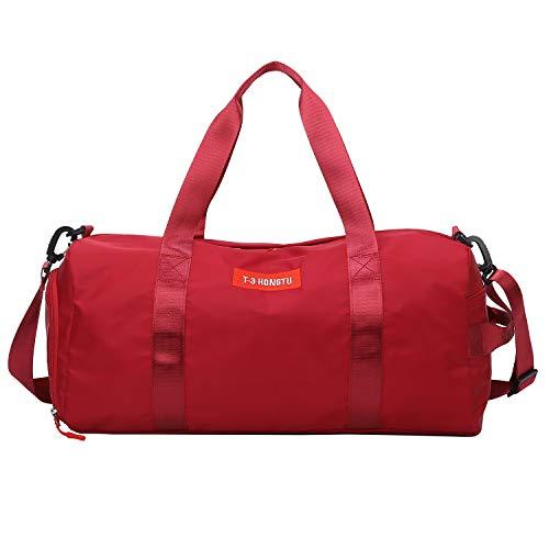 FEDUAN Sporttasche rot Reisetasche modisch wasserdicht mit Schuhfach Nassfach für Damen und Herren Yoga Pilates Strand Freizeit Sauna Gym-Tasche Shopping-Bag Weekender Urlaub 24L