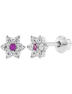 In Season Jewelry Baby Mädchen Kinder - Schraubverschluss Ohrringe Klare Blume 925 Sterling Silber Rosa CZ Zirkonia
