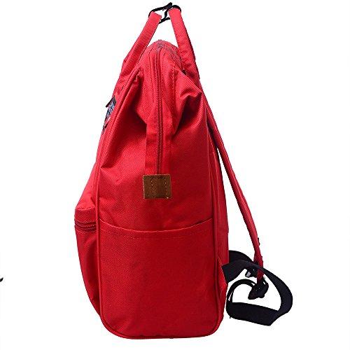 Schultertasche Unisex, Sunday Schüler Damen Herren Solide Rucksack Schule Reisetasche Doppel Umhängetasche Reißverschlusstasche (Rot) Rot