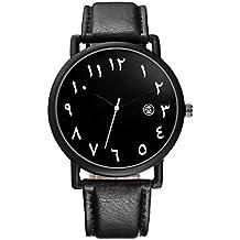 Souarts Unisexs Arabic Numbers Watch Quartz Analogue Artificial Leather Strap Math Watch