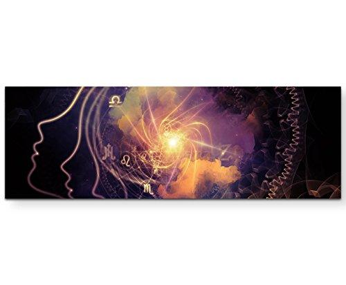 Eau Zone Wandbild auf Leinwand 120x40cm Profil denkender Mensch – abstrakt