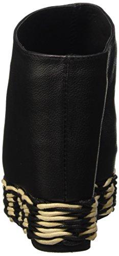 Jeffrey Campbell Virgo Espadrillas Leather Scarpe con tacco a punta aperta, Donna Nero (Grainy Black)