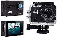 كاميرا تصوير فيديو اكشن رياضية 4K دي في الترا اتش دي 1080P مع واي فاي، كاميرا تسجيل فيديو دي في - لون اسود