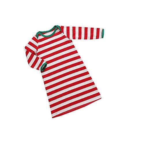Bekleidung Longra Weihnachten gestreift Säugling Baby Onesie jungen Mädchen Creeper Body Pyjamas Schlafanzug Strampler (0 -24 Monate) (73CM 6Monate) -