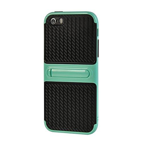 MOONCASE iPhone 5/5s/iPhone SE Coque, Double Hybride Robuste Protection Housse Etui Couche d'Armure Lourde Case avec Béquille pour iPhone 5/iPhone 5s/iPhone SE Blanc Bleu Ciel