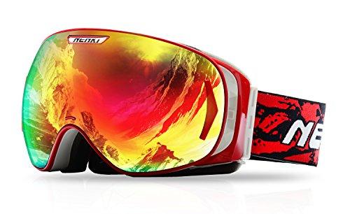 Gafas de esquí y snowboard para hombre o mujer, con antivaho y 100% de protección UV, NK-1006, de Nenki, rojo