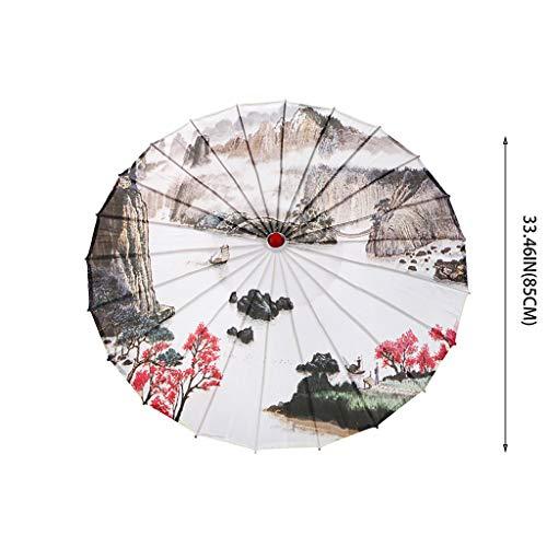 Eliasan Chinesische Geöltes Papier Regenschirm Regenfest Handgemachte Sonnenschirm Kunst Regenschirm Bambus Holz und Seide Tuch Für Cosplay Kostüm Drama Möbel Dekoration Bühnenshows 33,5 'A (Kostüm Für Den Drama)