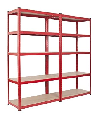 2 bay Warehouse Racking 5 Tier Shelving Heavy Duty 265kgs per Shelf with Mallet