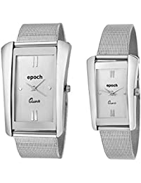 Epoch Analogue Silver Dial Couple's Watch for Men and Women