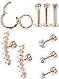 10 Stück Knorpel Tragus Ohrringe Set Labret Ohrstecker Barbell Ohrring CZ Intarsien Stahl Ohr Ring für Tragus Lip Nase Ohren Körperschmuck, 10 Arten (Rose-gold)