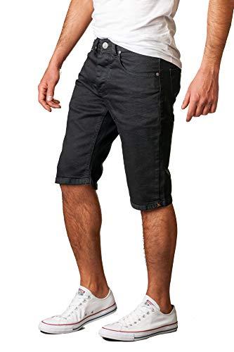 Gelverie Herren Shorts Slim Fit Bermuda Jeansshorts W36 Black Denim