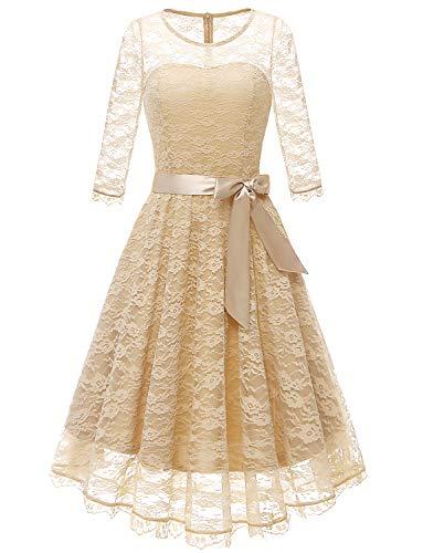 Gardenwed Damen 1950er Vintage Rockabilly Langarm Spitzen Kleid Schwingen Partykleid Cocktailkleid...