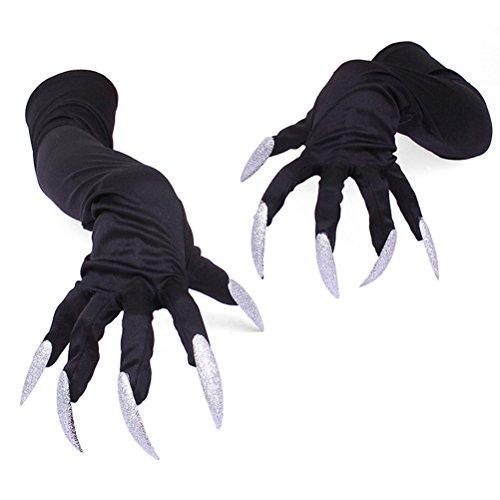 LUOEM Halloween Kostüm Handschuhe mit Lange Fingernägel Hexen (Handschuhe Lange Kostüme)