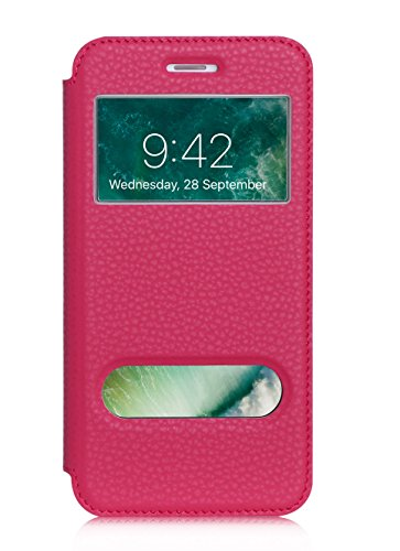 ISIN Cell Teléfono Móvil Series-Funda de Premium PU Smart Cover con View Window para Apple iPhone 7 Plus (Rosa)
