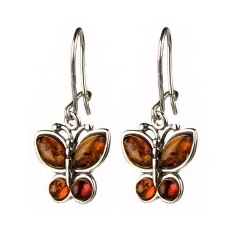 Schmetterling-Ohrringe Bernstein und Sterling-Silber 925