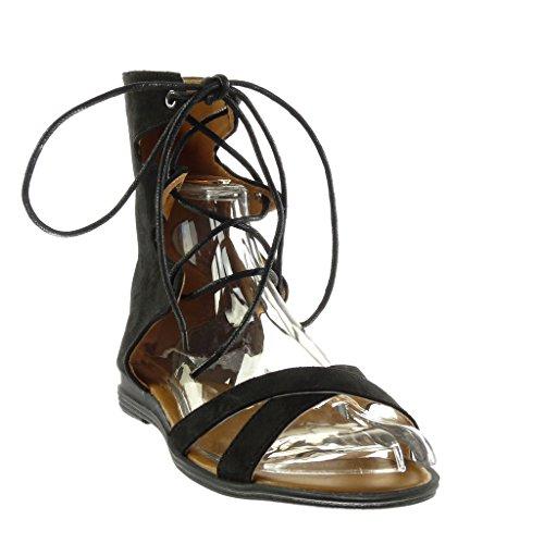 Angkorly - Chaussure Mode Sandale sexy femme brodé multi-bride Talon bloc 2 CM Noir