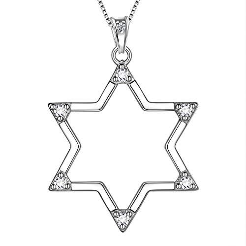 AuroraTears 925 Sterling Silber Davidstern Halskette Kreuz Anhänger Jüdischen Schmuck Religiöse Judaica Geschenke für Frauen DP0171W (Kreuz Jüdische)