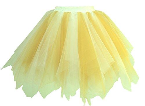 Ballett Tanz Günstige Kostüme (Dancina Damen Petticoat 50er Jahre Retro Tutu Tüllrock Weiß / Gelbgold)