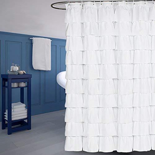 MAOYYM2 Wasserdichter, weißer Polyester-Duschvorhang mit Rüschen - Duschvorhang Rüschen Grau Mit
