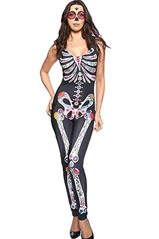 Fortuning's JDS Frauen-farbiges Skelett druckte reizvolles dünnes Overall-Halloween-Kostüm (Familie Halloween-kostüme Mit Baby)