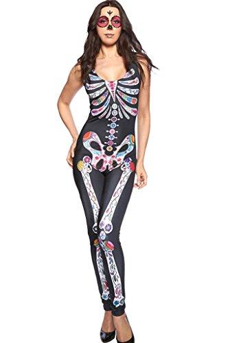 Fortuning's JDS Frauen-farbiges Skelett druckte reizvolles dünnes Overall-Halloween-Kostüm (Von Frankenstein Mädchen Braut Kostüm Kleine)