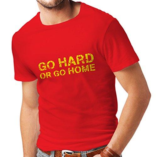 Männer T-Shirt Go Hard or Go Home für Kreuzheben, Kniebeugen, Bankdrücken und Gewichtheben Trainieren (XX-Large Rot Mehrfarben)