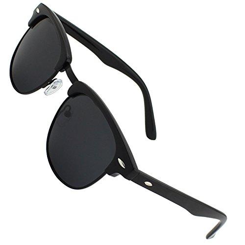 CGID CN56 Clubmaster clubma Retro Vintage Sonnenbrille im angesagte 60er Browline-Style mit markantem Halbrahmen Sonnenbrille,Glänzend Schwarz-Grau