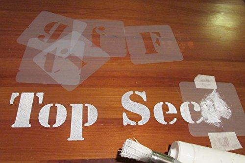 Stencil, motivo: lettere dell'alfabeto, carattere dimensioni: 40 mm, lunghezza: 50 mm, 75 mm e 100 mm, plastica, 100 millimetri