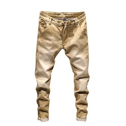 Herren Slim Fit Basic Denim Jeans Jeanshose Khaki