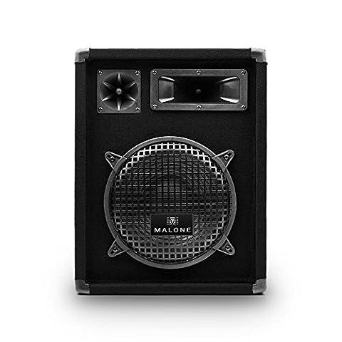 Malone PW-1022 PA Lautsprecher Passiv 3-Wege PA Box (400 Watt max., 200 Watt RMS, 10 Zoll Subwoofer, 50 Hz - 18 kHz, Tragegriffe) schwarz