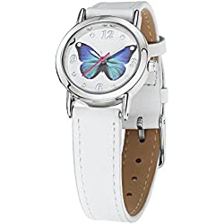 Jo for Girls Blue Butterfly Girl's Quartz Analogue Watch with White Leather Strap