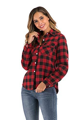 Camisa Cuadros Mujers Camisa Basiccon Botones Camisetas